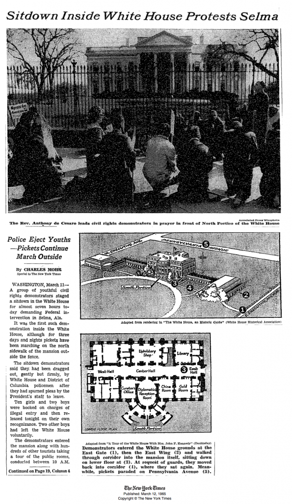 "NY Times, March 11, 1965, ""Sitdown Inside White House"", Page 1"