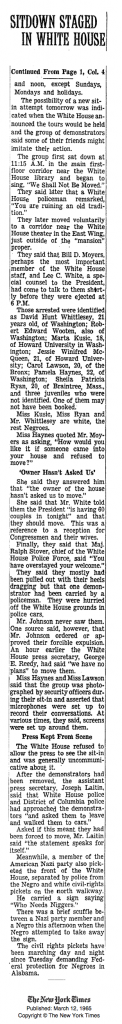 "NY Times, March 11, 1965, ""Sitdown Inside White House"", Continued"