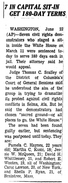 "NY Times, June 23, 1965, ""180-Day Terms"""