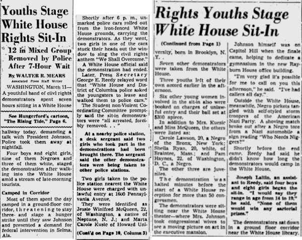 Pittsburg Post-Gazette, March 12, 1963, Rights Youth