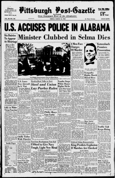 Pittsburg Post-Gazette, March 12, 1963, Front Page